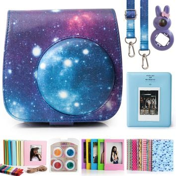 CAIUL 7 in 1 Fujifilm Instax Mini 8 8+ 9 Camera Accessories Bundles (Galaxy Starry Sky Mini 8 Case / Mini Album / Close-up Selfie Lens / Colors Filters / Wall Hang Frames / Film Frame /Film Stickers) Galaxy