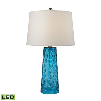 D2619-LED Hammered Glass LED Table Lamp in Blue With Pure White Linen Shade