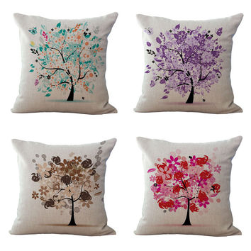 Life Tree Cushion Cover Colorful 45x45cm Decorative Pillowcase Chair Seat Waist Square Pillow Cover Home Living Textile