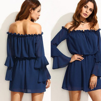 Navy Off the Shoulder Ruffles Elastic Waist Rompers