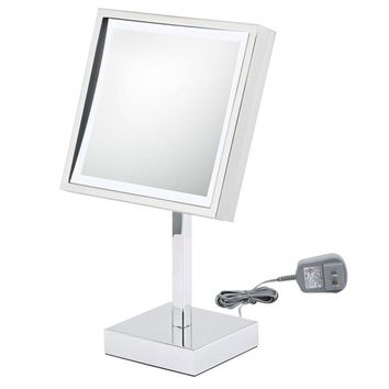 First Impressions LED Lighted Square Chrome Vanity Mirror