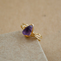 Fluorite Purple and Gold Wire Wrapped Ear Cuff