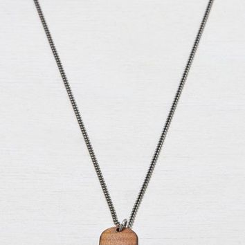 AEO Men's Wooden Tag Necklace (Silver)