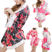 Sexy Floral Japanese Kimono Stage Sleepwear Lingerie Dress Bath Robe Nightgown