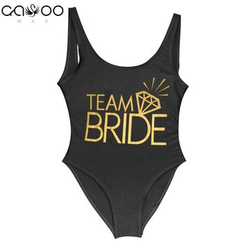 Team BRIDE & BRIDE Golden Letter Print Diamond One Piece Swimsuit Women Swimwear Wedding Party une piece Swimming Suit Badpak