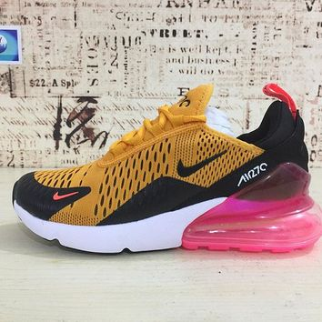 Nike Air Max 270 Tiger Black/University Gold-Hot Punch-White Running Shoes - Best Deal Online