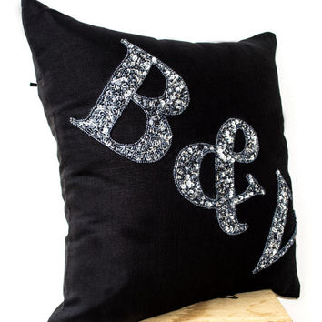 SALE Beaded Black Linen -Monogram Pillow -Grey Bead Monogram Pillow -Monogram Pillow- Initials Pillow- Wedding- Gift-18x18- Bedding- Couch P