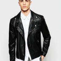 ASOS Faux Leather Biker Jacket In Black at asos.com