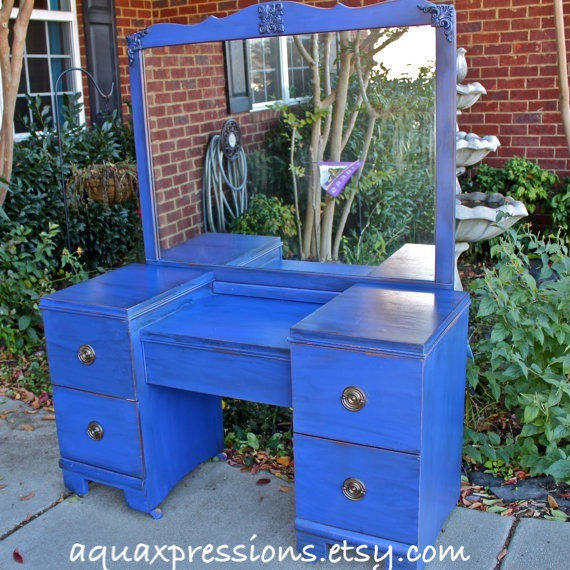 Cobalt Blue Vanity Dresser Beach From Aquaxpressions On Etsy