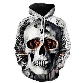 Cracked Skull Head Fire Red Eyes White All Over Print Hoodie Sweater