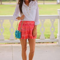The Native Line Shorts, Red