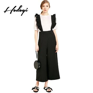 Hodoyi Women Fashion New Autumn 2017 Sweet Solid Black Ruffle Patchwork Casual Jumpsuit Wide Leg Suspender Pants Overall