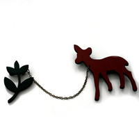 Deer and Greenery Collar Clips, Wooden Deer Accessory, Animal Brooch, Woodland, Wood Jewelry