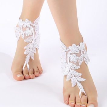 Free Ship white or ivory champagne barefoot sandals, flexible ankle sandals,  lace Barefoot Sandals,  Beach wedding barefoot sandals