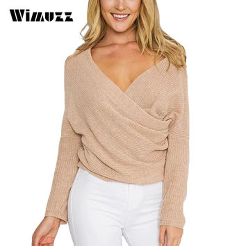 Wimuzz Sexy V Neck White Sweater Women Off Shoulder Cross Knitted Sweaters Pullover Batwing Sleeve Pull Femme