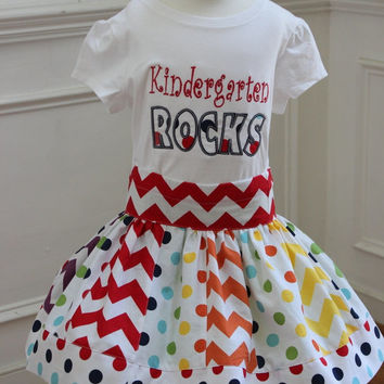 back to school outfit back to school skirt set kidergarten rocks shirt with  matching chevron skirt 580f962c1a