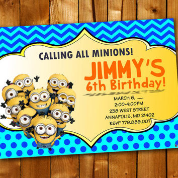 Minion Birthday Party Invitation Chevron Polka Dot, Birthday Invitation for little boy and little girl