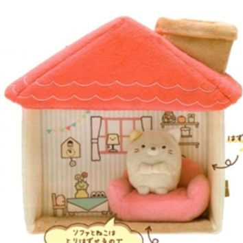 San-X Sumikko Gurashi ''Things in the Corner'' Our Dream Home 7.9'' House Play Set with Sofa and Cat