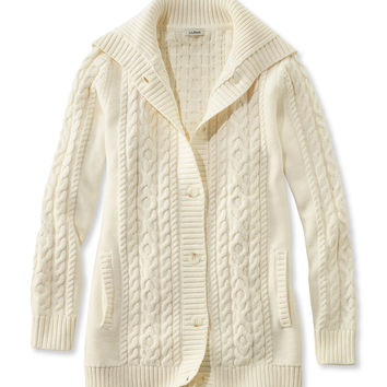 Double L Mixed-Cable Sweater, Button-Front Cardigan