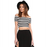 Black and White Off-shoulder Striped Cropped Top