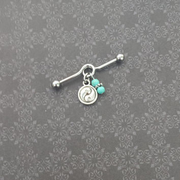 Yin Yang - Turquoise - Industrial Barbell Scaffold Piercing 14G