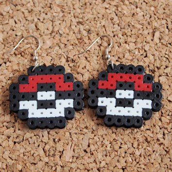 Pokeball Perler earrings - pokemon nerdy geekery jewelry hannd fusible plastic beads FREE shipping to USA
