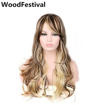 Size can be adjusted WoodFestival womens wig cosplay blonde brown long wavy synthetic hair wigs for women heat resistant