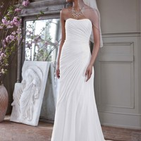 Crinkle Chiffon Gown with Asymmetrical Draping - David's Bridal - mobile