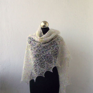 Light Pastel  hand knitted  mohair shawl with lace  pattern SUMMER SALE 15% OFF