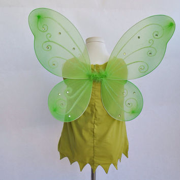 Tinkerbell Costume with Wings by VintageDivinitiess on Etsy