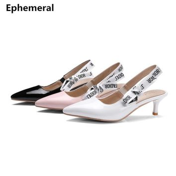 Ladies Thin Med Heel Sandals Back Strap Heels Stilettos Pumps Black and White Shoes Plus Size 48 47 34 44 Sexy Footwear Office