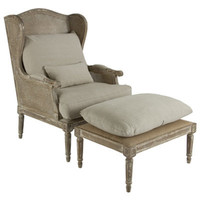 French Caned Chair with Ottoman - Belle Escape