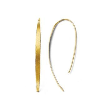 Brushed Curved Bar Threader Earrings in Yellow Gold Tone Silver, 55mm