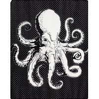 Gothic Room Blanket Octopus Plush Throw Blanket - Black