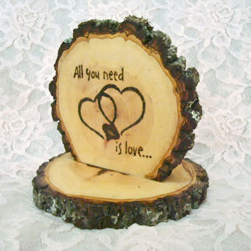 Rustic Wedding Cake Topper Wood Hearts CUSTOMIZE Made to Order