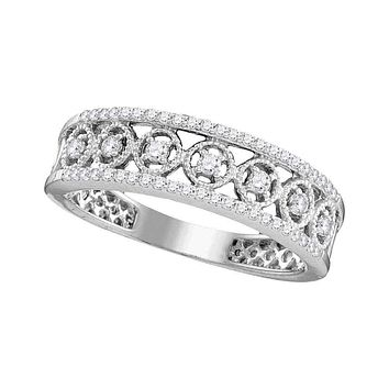10kt White Gold Women's Round Diamond Filigree Symmetrical Band Ring 1/4 Cttw - FREE Shipping (US/CAN)