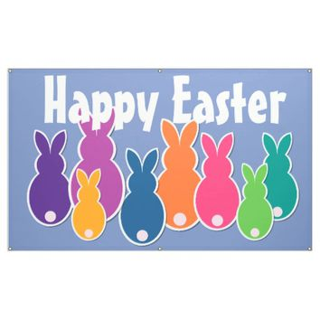 All About Colorful Easter Bunnies Banner