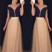 Short Sleeve Prom Dresses,Lace Beading Evening Dress, A-Line Long Dresses