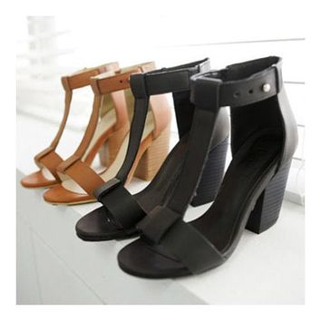 High Thick Heel Sandals Open Toe T Shape Strap