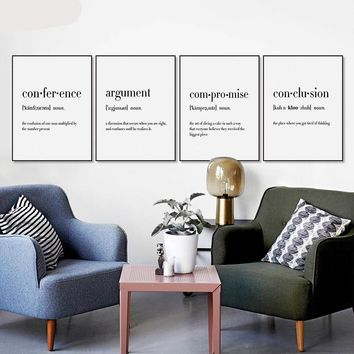 Conference Argument Compromise Conclusion Funny Dictonary Canvas - Print Wall Art Decor Quote