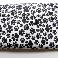 Black & White Paw Print Microwave Heating Pad, Hot or Cold Rice Heat Therapy Pack, Herbal or Unscented, Pet Lover Gift, Washable Cover