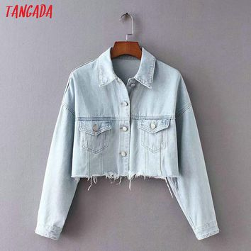 Tangada women jacket jeans oversized 2018 autumn pockets denim jacket ripped coat female korean 90s jackets outerwear XC01