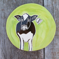 WTF Chartreuse Cow Plate by pumphousestudios on Etsy