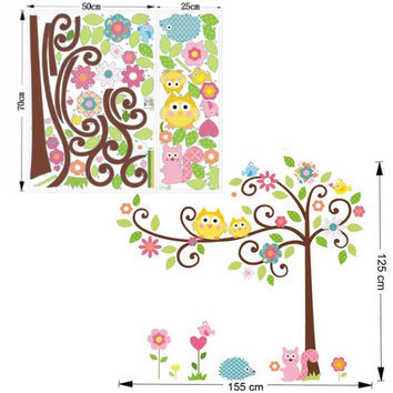 Kawaii owls tree wall stickers for kids room decorations nursery cartoon children girls home decals 1011. animals mural arts 4.0 SM6