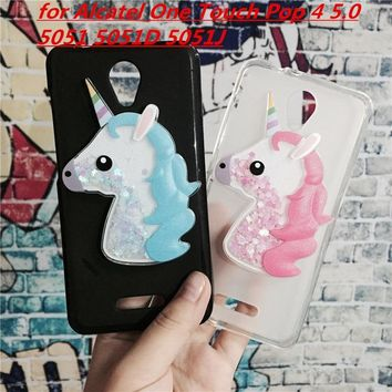 3D Unicorn Quicksand Liquid Soft Silicone Case for Alcatel One Touch Pop 4 5.0 5051 5051D 5051J Phone Cover Funda
