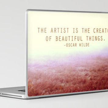 Oscar Wilde Artist Quote in a Peaceful Field Print Laptop & iPad Skin by Ink the Print | Society6
