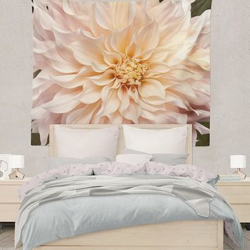 Reiki Charged White Dahlia Flower Abstract Design Tapestry Wall Hanging Meditation Yoga Grunge Hippie