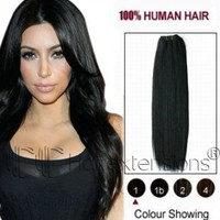 22 inch Jet Black(#1) Straight Indian Remy Hair Weave