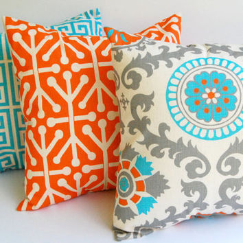 "Throw pillow covers set of three 16"" x 16"" cushion covers Orange Natural Aqua Blue Gray dosset"