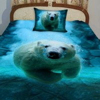 Anlye Nautical Bedding Set 2 Sides Printing 3d Visual Desiger of the White Polar Bear Swim Blue Ocean Coverlet with 2 Silk-like Pillow Cases Twin